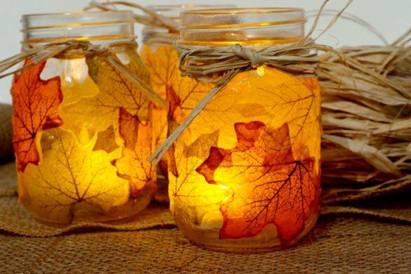 jesienny swiecznik z lisci i sloika