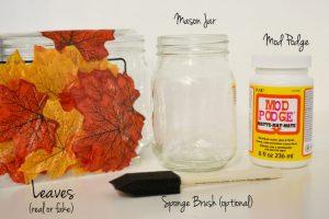 jesienny swiecznik z lisci i sloika 1