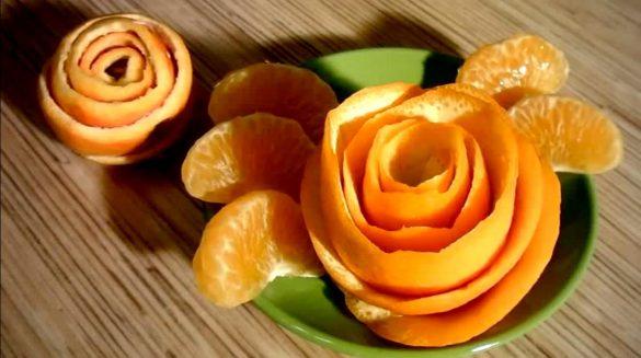 Kwiat róży ze skórki pomarańczy